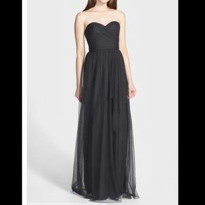 Amsale Draped Tulle Gown Size 4 Charcoal Gray